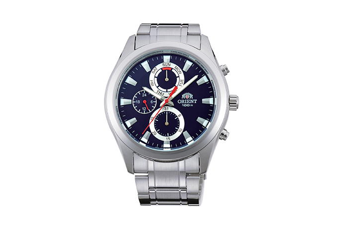 Orient: Cuarzo Sports Reloj, Metal Correa - 41.0mm (UY07001D)