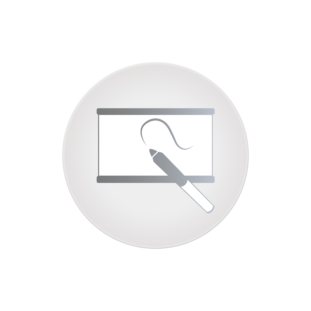 Icon of a projector screen with a gray marker