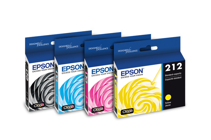 Epson 212XL, Standard- Color and High- Ink Cartridges, (CMYK) 4-Pack