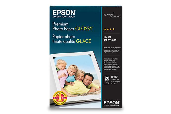 Epson Premium Photo Paper Glossy, 11 X 17, 20 Sheets