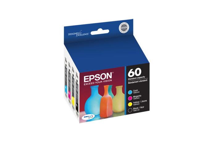 Epson 60, Black and Color Ink Cartridges, C/M/Y/K 4-Pack