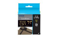 Fita LC de Tecido-Dourado sobre Preto-12mm