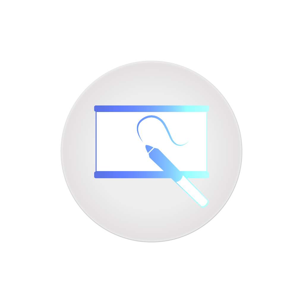 Icon of a projector screen with a blue marker