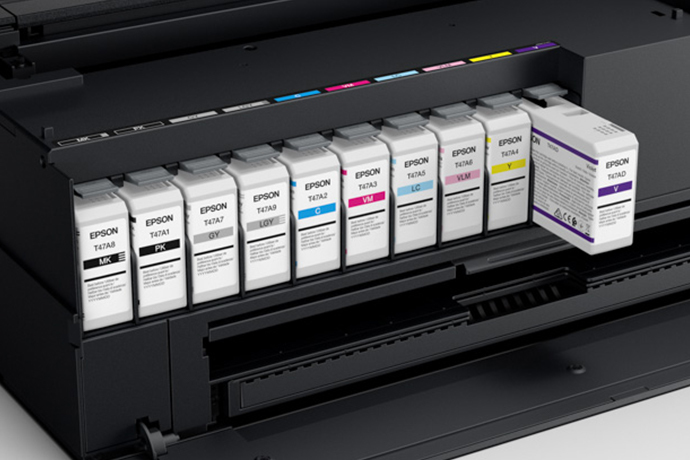 Ink Jet Printers - image of the ink cartridge tray of a SureColor P900 17-Inch Photo Printer